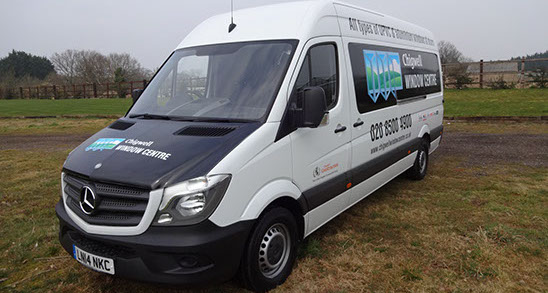 New Mercedes Van for Chigwell Window Centre with Bonnet Wrap.