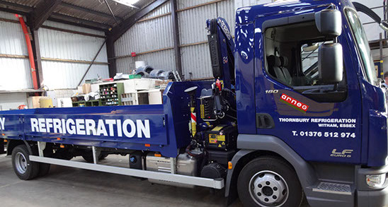 New lorry for Thornbury Refrigeration, sign written at GM Billings truck builders.
