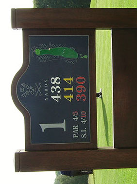 Golf Course sign, with engraved plaque mounted onto timber posts.