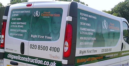 Printed vehicle graphics, profile cut to fit within panels